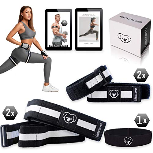KOALA BANDS | Bundle Pack (2 Leg Bands, 2 ARM Bands, 1 Headband, 1 Poly Bag, 1 E-Book) Comfort X Design Allows Muscle to Expand and Contract