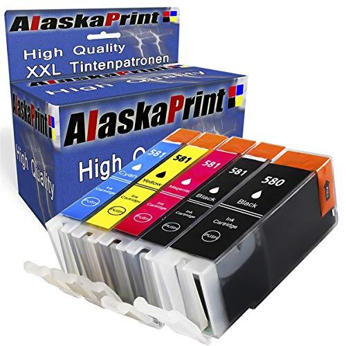 Alaska 5 Druckerpatronen Komp. für Canon PGI-580 CLI-581 XL für Canon Pixma tr8550 TS6150 TS6151 TR7550 TS8150 TS8151 TS8152 TS9150 TS9155 Patronen