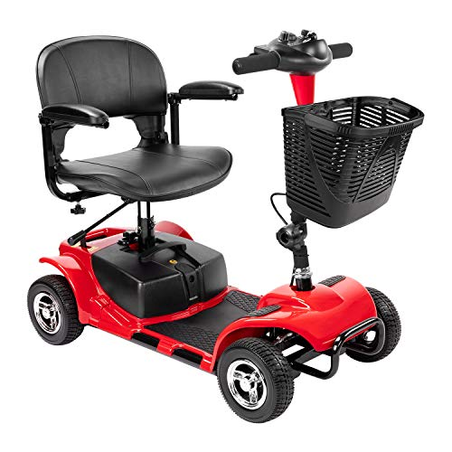 Furgle 4 Wheel Mobility Scooter Electric Power Mobile Wheelchair for Seniors Adult - Collapsible and Compact Duty Travel Scooter w/Basket and Long Range Power Extended Battery (Red)