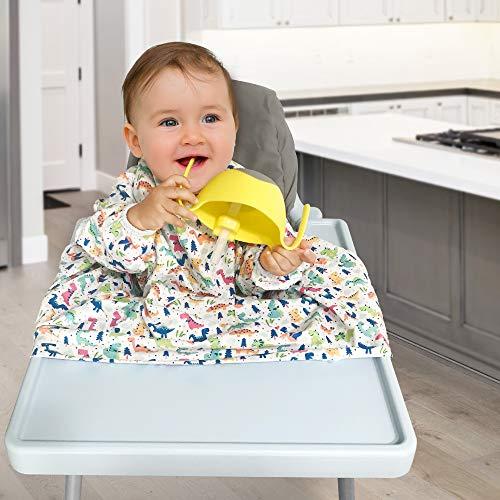 DME Bavoir - Bavoir qui s'attache aux chaises hautes, Bavoir manches longues bebe couverture complète résistant à l'eau (Modèle-B)
