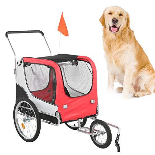 Cikonielf Cochecito Plegable para Transporte Mascotas, Remolque de Bicicleta para Perros, Carro...