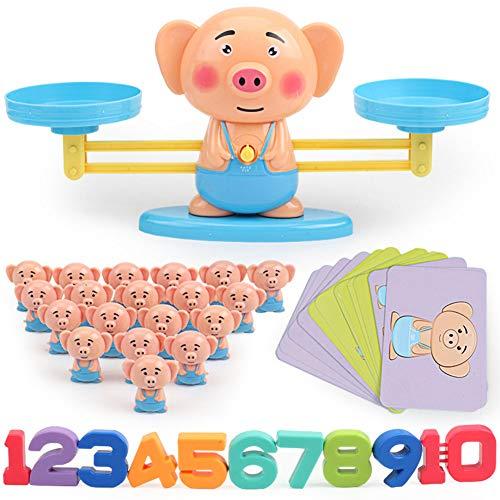 LanLan - Reloj despertador educativo para niños, juguete educativo, balanza matemática digital, adición de contador para niños, familia, mesa, juego Piggy