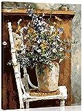 WISKALON Pintar por Numeros, DIY Pintura acrílica Kit para Principiantes Adultos y Niños - Flores en silla 16 * 20 Pulgadas con Pinceles y Pinturas DIY pintura al óleo (con Marco de Madera)