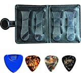 Wallet-type guitar pick holder, soft leather, 12-piece pick rack, suitable for 6-string/4-string guitar/bass/Ukulele(black)