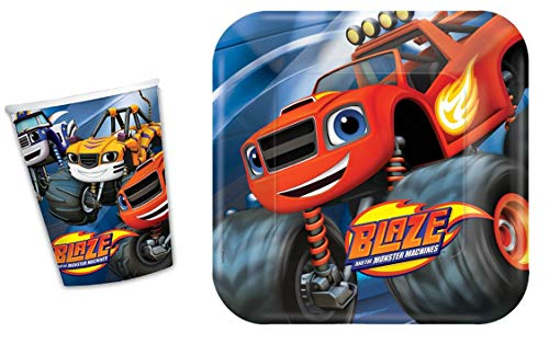 Blaze and the Monster Machines 8 platos de papel grandes y 8 tazas de papel