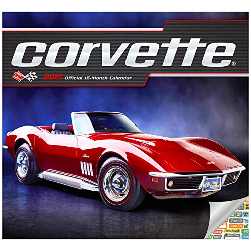 Price comparison product image Classic Corvette Calendar 2021 Bundle - Deluxe 2021 Corvette Wall Calendar with Over 100 Calendar Stickers (American Sports Cars Gifts,  Office Supplies)
