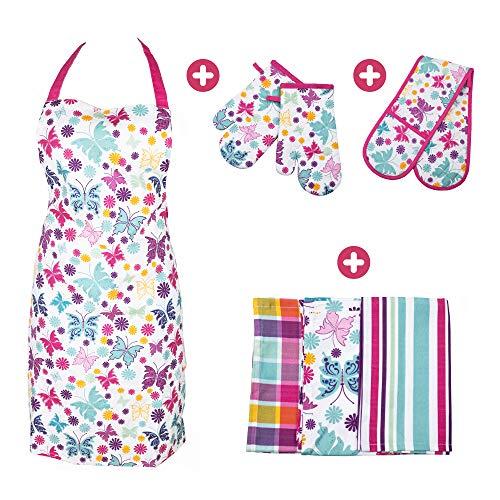 BestU 4 in 1 Küchenset mit Kochschürze Ofenhandschuhe Topfhandschuhe Geschirrtücher   Premium Baumwolle   Set für Küche - Kochen Backen   Geschenk für Frauen (Set 3)