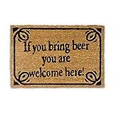 """Relaxdays – Felpudo """"If You Bring Beer You Are Welcome Here"""" para la Entrada de su hogar Hecho de Fibras de Coco y PVC con Medidas 40 x 60 cm Antideslizante Elemento Decorativo, Color marrón"""