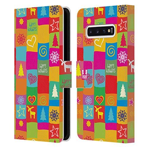 Head Case Designs Edredón Navidad del Hippie Carcasa de Cuero Tipo Libro Compatible con Samsung Galaxy S10