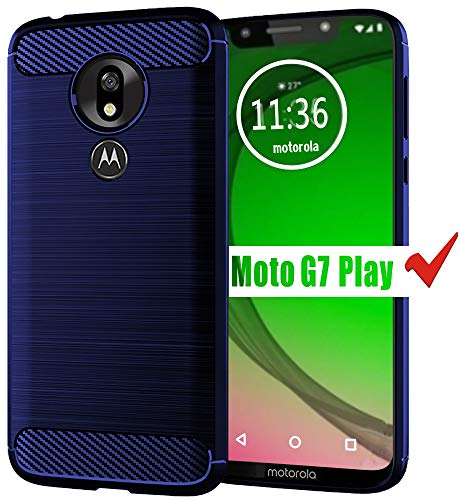 HNHYGETE Moto G7 Play Case, Soft Slim Shockproof Anti-Fingerprint Full Protective Phone Cases for Motorola Moto G7 Play (Blue)