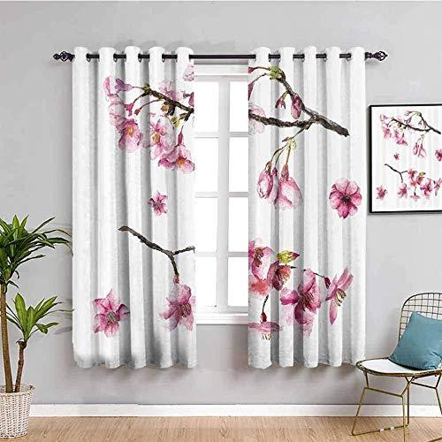 Nileco Cortinas Opacas Termicas - Rosa moda plantas flores. - 140x160 cm - Cortinas del Dormitorio de la Habitación de los Niños - 3D Impresión Digital con Ojales Aislamiento Térmico