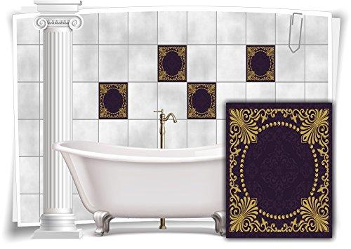 Medianlux Fliesen-Aufkleber Fliesen-Bild Kachel Vintage Nostalgie Retro Shabby Chic Gold Violett Bad WC Küche, 12 Stück, 20x25cm m13m2h-88709