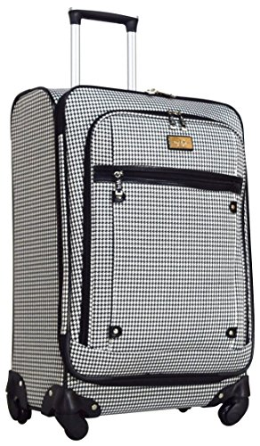 Nicole Miller Designer Luggage Collection - Expandable 24 Inch Softside Bag - Durable Mid-sized Lightweight Checked Suitcase with 4-Rolling Spinner Wheels (Taylor Black/White Plaid)