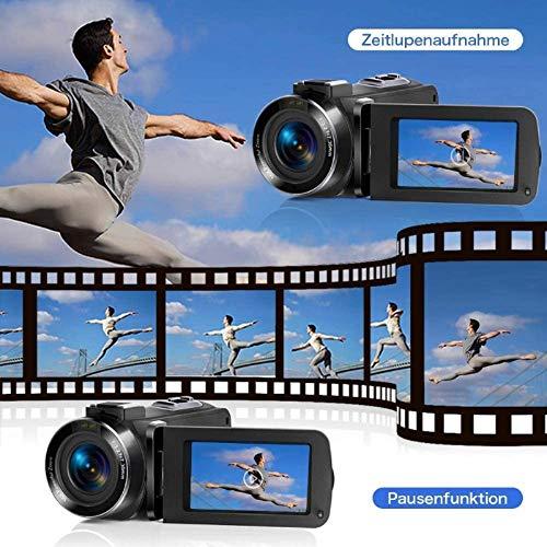 Videokamera 2.7K Camcorder mit Mikrofon,Vlog Kamera zum filmen für YouTube mit IR Nachtsicht,16X Digital Zoom 36MP 3,0 Zoll LCD Touchscreen,Gegenlichtblende,Fernbedienung