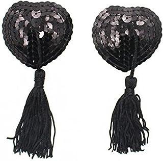 (デマ―クト)De.Markt レディース 女性用 かわいい形 タッセルスパンコール シリコン製 胸パッド ハート型スパンコール ニップレス 2枚セット