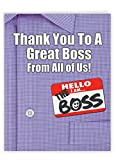 Thank You to a Great Boss - Work Boss Thank You Greeting Card with Envelope (Large 8.5 x 11 inch) - Gratitude for Boss, Manager - Award Gift From All of Us, Big Appreciation Stationery J9108BYG-US