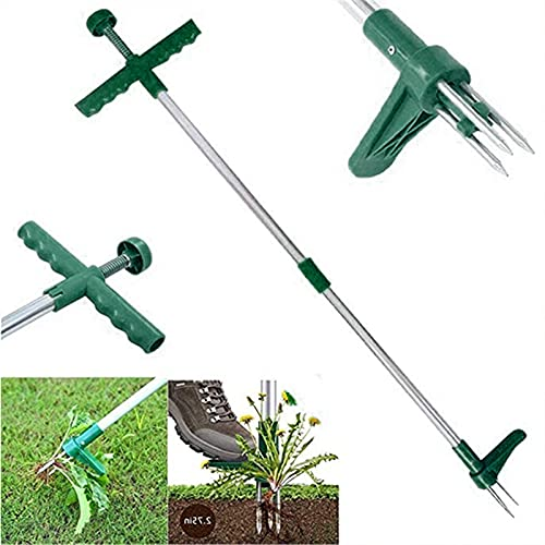DHYED Weed Puller Tool Stand Up,Weed Puller - No-Bending Standing Plant Root Remover Grabber Hand Tool with 3 Claws, Stand-Up Manual Weeder with Long Handle
