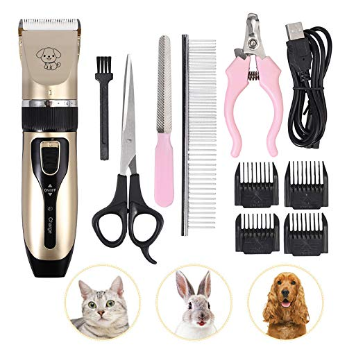 eSynic Cortapelos para Perros y Gato Tijeras Electronicas Afeitadora Eléctrica Profesional con 4 Combs el Cuchillo Fijo de Titanio Previene Las Alergias en la Piel para Mascotas Perros