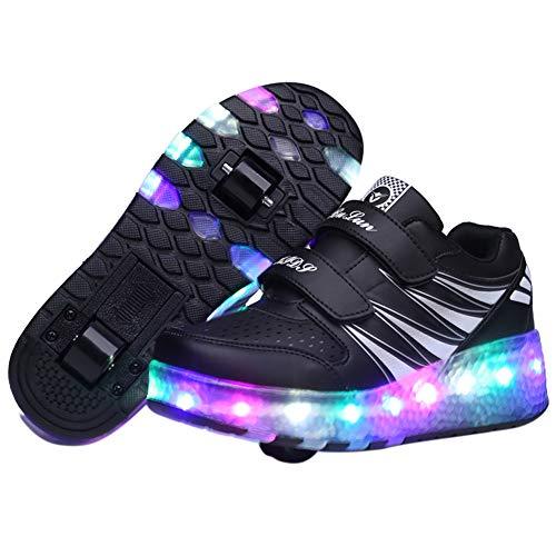 Kalaokei Kinder Erwachsene Mode Bunte LED-Licht ultraleichte Roller Heelys Skates Schuhe Black 41