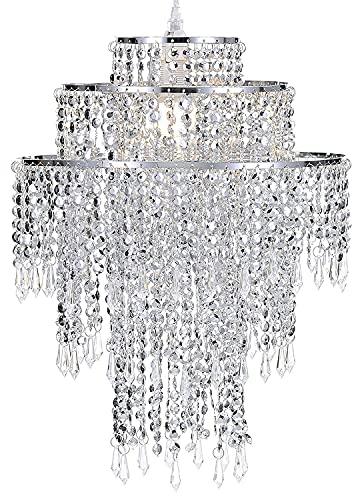 Lámpara de salón lámpara colgante de cristal de 3 capas grande cromado...