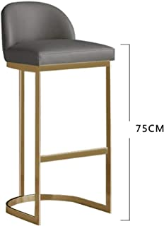 YE ZI Metal Bar Stool - Home Kitchen Restaurant Backrest High Chair Suitable for Indoor and Outdoor (Color : Gray, Size : 75CM/39.5