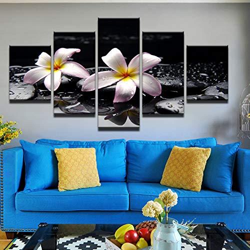 QWERGLL Malen des Bilddrucks Auf Leinwand Blumenbilder 5 Panel Wandkunst Weiße Lilie Und Stein Im Wasser Für Wohnkultur