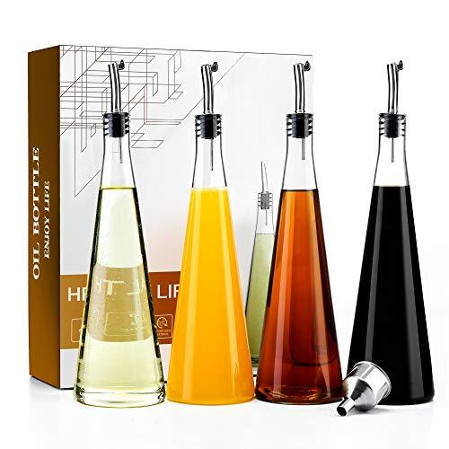 Olive Oil and Vinegar Dispenser Set(4 pack),18 oz Cooking Oil Glass Bottles For Kitchen,Stainless Steel Pourer Spouts & Funnel, Cooking Oil Cruet