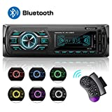 Autoradio mit Bluetooth Freisprecheinrichtung, MEKUULA 1DIN Autoradio MP3, Stereo Auto Radio, USB/TF/AUX/FM/Mikrofon/MP3-Player Receiver, SWC Fernbedienung, 7 Farben Einstellbar, LCD...