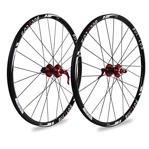 BUCKLOS 【UK Stock 26/27.5/29' Mountain Bike Wheelsets, Carbon Hub MTB Wheels Quick Release Disc Brakes, 24H Low-Resistant Flat Spokes Bike Wheel fit 7-11 Speed Cassette