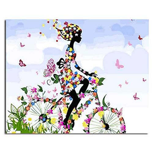 YSNMM Zeichnen Nach Zahlen Mädchen, Das Fahrrad Fährt DIY Ölgemälde Nach Zahlen Malen Nach Zahlen Kits
