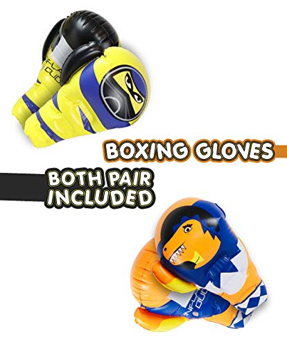 NEW!J&A's Inflatable Dudes LARGE Kids Boxing Gloves Ninja & T-Rex Dinosaur | Both sets are included | Indoor Outdoor Bopper | Kids Punching Bag | Inflatable Toy | Premium Vinyl- Has Inside Grip Handle