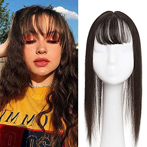 Elailite Protesi Donna Clip Hair Topper Capelli Veri con Frangia Extension Human Hair Indiani 10cm*12cm Silk Lace Toupet Toupee 35cm 45g #2 Marrone Scuro