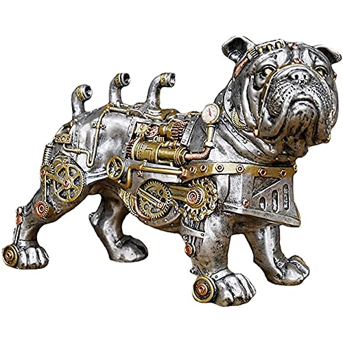 Steampunk Mechanical Dog Statue, Industrial design French Bulldog Sculpture,Steam Punk Bulldog Statues, Resin Ornaments Collectibles,Indoor Home Decor for Office Bookshelf Desktop Decorations,7.08inch