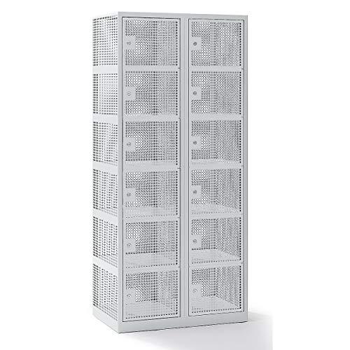 QUIPO Lochblechspind - Abteil 400 mm, 12 Fächer, Zylinderschloss, Türen lichtgrau - Kleiderspinde Lochblechspinde Spinde Kleiderschränke Umkleideschränke Umweltschränke Garderobenschränke Kleiderspinde Lochblechspinde Spinde Kleiderschränke
