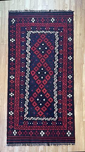 Alfombra oriental afgana hecha a mano Kilim de lana de colores naturales afganos turcos nómada persa tradicional persa 115 x 214 cm vintage corredor pasillo escalera reversible