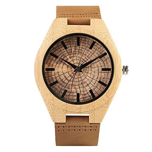 KUELXV Reloj de Pulsera de Madera Relojes de Madera de bambú de Cuarzo para Hombre,BandaGenuina,Reloj de Pulsera Informal a la Moda, árbol, Anillo Anual, Esfera, Reloj Creativo para Hombre, re