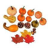 Kisangel 52 Piezas de Calabaza Artificial de Halloween Calabazas Conos de Pino Bellotas Set de Verduras Realistas Decoración para La Guirnalda de Otoño Decoraciones de Acción de Gracias