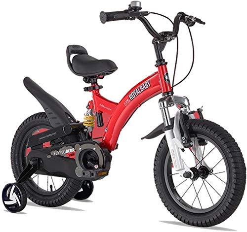 JHNEA Bicicletas Infantiles niña niño 3-9 años Bicicletas 12 14 16 18 20 Pulgadas Ruedas auxiliares Bicicleta para niños con Freno de montaña, Timbre,Red_14'