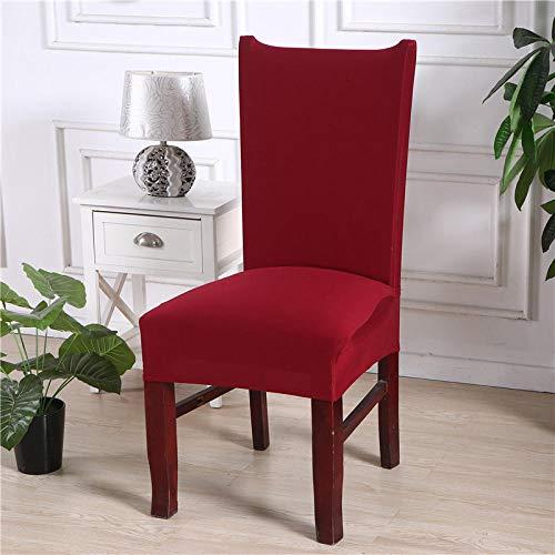 Fundas para Sillas Juego de 6 Rojo sólido Fundas Sillas Fundas Protectoras para Sillas Lavables Comedor Decoración de Elástica para sillas para Banquetes Oficina Hogar Restaurante Bar.