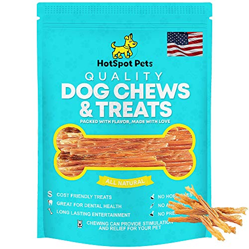 hotspot pets Beef Tendon Chews for Dogs - 8 Inch All Natural, Free-Range, Grass-Fed Premium USDA Gambrol Beef Tendon Stick Treats - Made in USA (1 Pound)