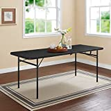 Mainstay Easy Carry Handle Black Strong and Sturdy 6' Foldable Table with Seats up to 8 Person (6ft, Black)