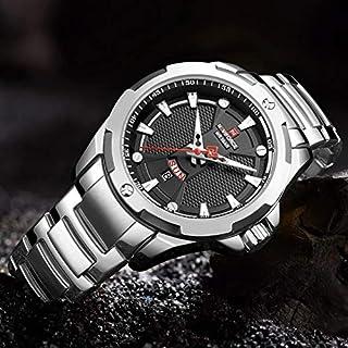 ساعة انالوج بمينا سوداء وسوار ستانلس ستيل للرجال من نافي فورس - NF9161-SB