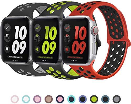 VIKATech Ersatz Armbänder für Apple Watch Armband 44mm 42mm, Weiche Silikon Ersatz Armbänder für iWatch Armband Series 5/4/3/2/1, S/M, 3Pack B
