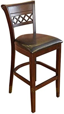 Retro Solid Wood Dining Chair Classic Backrest Bar Chair Comfortable Easy to Clean High Chair Suitable for Restaurant Cafe, Etc.