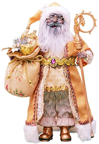 "16"" Inch Standing Gold African American Black Santa Claus Christmas Figurine Figure Decoration 416050A"