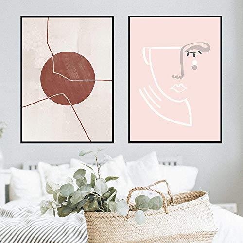 MXK Línea de Arte Cartel nórdico Lienzo Abstracto Pintura Sol impresión Cara de Mujer Imagen Moderna para Sala de Estar en la Pared decoración del hogar 50x70 cm sin Marco