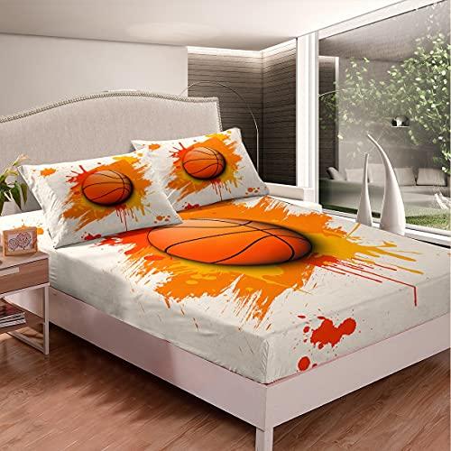 Juego de sábanas de baloncesto para niños, niñas, adolescentes, decoración de bolas, sábana bajera con temática de colores, 3 unidades, color blanco