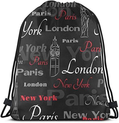 KINGAM Gymsack Red Tower Paris City New York - Bolsa de viaje con cordón para gimnasio, danza, mochila para senderismo, playa, viajes