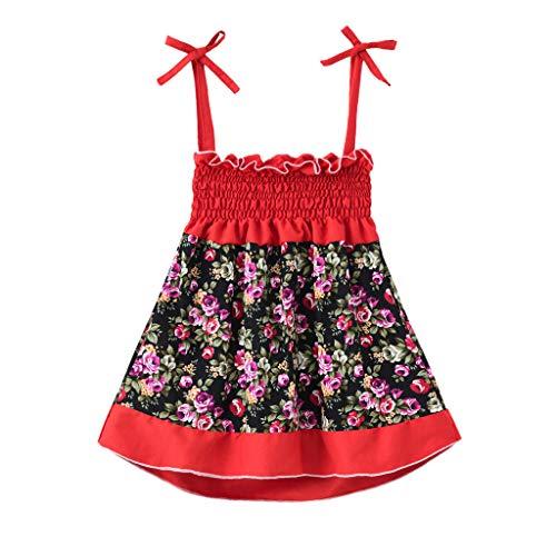 WOYAOFEI Mädchen ärmelloses Kleid 1-6 Jahre Nähen bedrucktes Kleid Tube Top Strap Kleid mit Röhrenmuster und Blumen Kleid Prinzessin Sommerkleid Outfits
