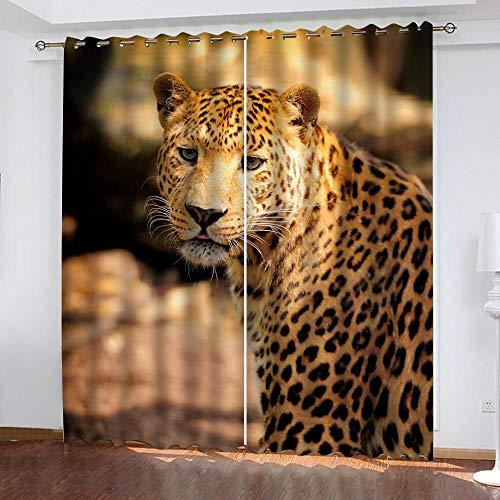 DRFQSK Cortinas Opacas Térmicas Aislantes para Salon Cortinas con Ojales para Dormitorio Impresión 3D Estampado De Leopardo Animal De Moda Cortinas para Ventanas 2 Piezas 264 X 214 Cm(An X Al)